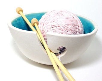 Turquoise Yarn Bowl and White Porcelain Pottery Yarn Keeper Yarn Feeder Knitting Bowl Stunning Medium MADE TO ORDER