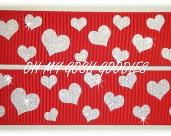 """GLITTER HEARTS Red / White grosgrain ribbon - 7/8"""" and 1.5"""" - 5 Yards - Oh My Gosh Goodies Ribbon"""
