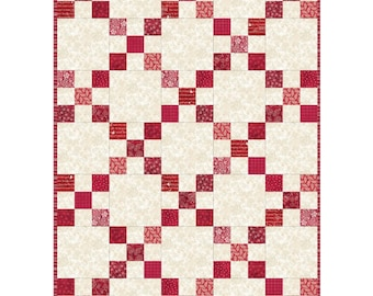 "Red and White Irish Chain Quilt Pod Kit 30"" x 42"" add another for larger quilt"