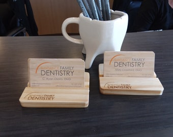 Personalized Business Card Holder - Customized Business Card Holder, Wood Business Card Holder, Business Card Holder, Desk Accessories