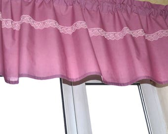 Lilac curtain with lace, Kitchen curtains, Curtains top, Kitchen valance, Сafe curtains, Lace curtain, Lace valance, Window treatments