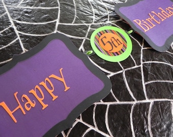 Happy Halloween Birthday Banner Stripes and Candy Corn Version---Customization of Colors Available