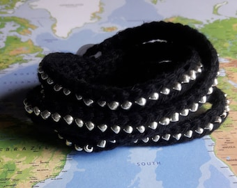 Crochet Multi-Wrap Bracelet- Beaded Bracelet- Jewelry- Black and Silver