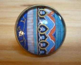 Bronze ring with glass cabochon, colorful picture