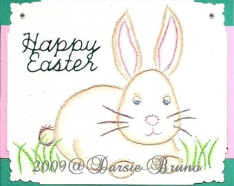 Easter Bunny Paper Embroidery Pattern for Greeting Cards