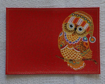 """Passport Cover """"Owls"""" . Genuine leather . Hand-painting ."""