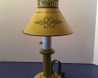 Tole Lamp ~ Metal Lamp ~ Yellow and Black Lamp ~ Desk Lamp ~ Electric Lamp ~ Toleware Lamp ~ Vintage