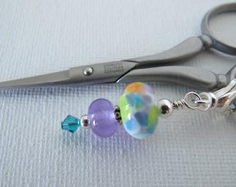White and Lilac Multi Color Scissor Fob