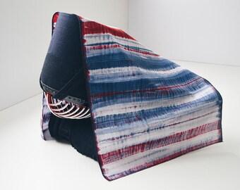 Shibori Stripes Tenugui Red & Blue - Free Shipping Worldwide