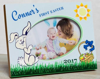 Personalized Easter Picture Frame, Boys First Easter Frame, Boys Easter Frame, Easter Bunny Picture Frame, Baby First Easter Frame, Easter