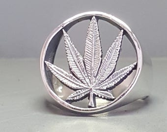 Sterling Silver Pot Leaf Weed Ring
