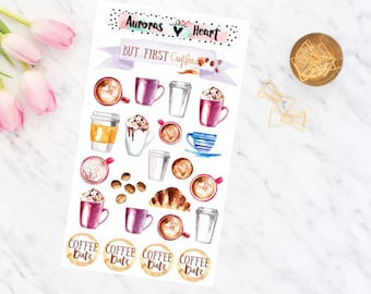 Coffee cups watercolor planner stickers boho