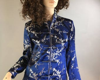 Vintage Satin Brocade Jacket// 80s Chinese Jacket// Cheongsam Jacket (F1)