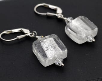 Silver Venetian Glass Square Earrings on Sterling Silver 925.