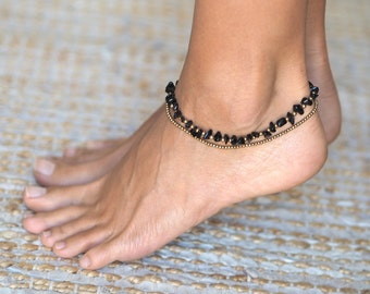 Anklets For Women // Black Ankle Bracelet // Black Anklet // Beach Anklet // Beach Jewelry // Black Onyx Ankle Bracelet // Black Onyx Anklet
