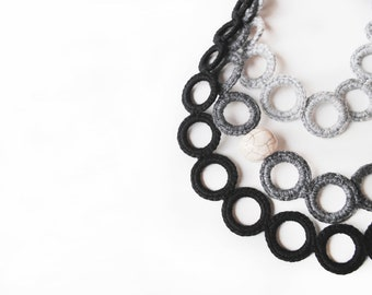 Bib necklace ombrè grey black  / Statement crochet necklace / Fiber necklace / Winter fashion / Crochet jewelry / Luxury gift for her