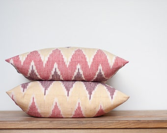 Throw Pillow Cover Ikat Chevron Tribal Geometric 16 x 16 Colorful Peach Red Brown Rustic southwestern country home decor