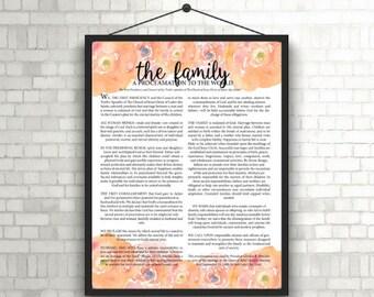 The Family Proclamation Print; Peach