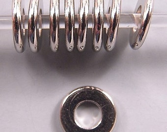 Greek Nickel 9mm Disk Beads 3.7mm Hole 33107 (50), Round Beads, Big Hole Beads, Rondelle Beads, Silver Metal Beads, Beading Supply