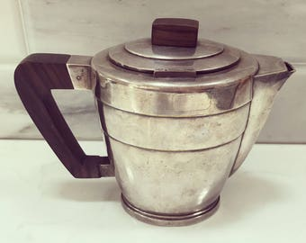 Antique coffee pot, Art Deco silver coffee pot, vintage wood and silver coffee pot, silver plated vintage coffee pot, 1930s coffee pot,