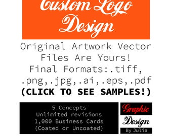 Custom Logo Design Unlimited Revisions, Shop, Business Branding or Rebranding 5 Initial Concepts PLUS 1,000 Thick Glossy Business Cards