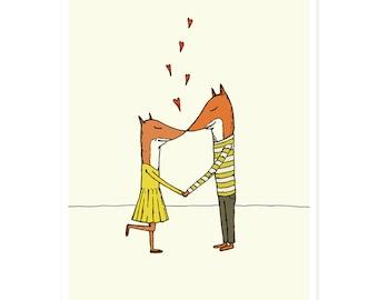 Kissing Foxes Print - Art Print, Valentine Print, Love Print, Couple Print, Animal Illustation, Illustrated Print, 5 x 7 Print