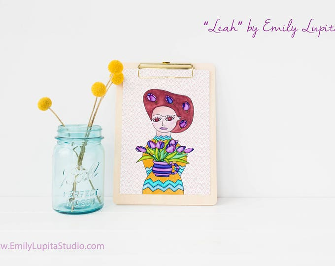 Art Print / Painting Stationary Invitations Greeting Card / Nursery Baby Girl's Room / Frida Brown Eyed Flower Girl Wedding Wall Art / Tulip