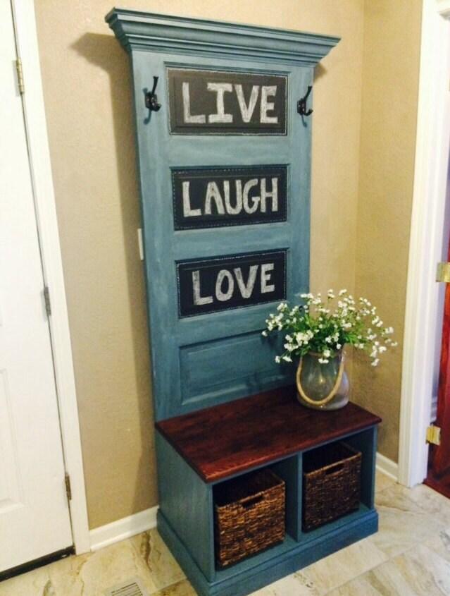 Reclaimed Vintage Door Hall Tree And Bench