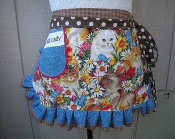 Aprons - Cat Lady Aprons - Aprons with Cats - Monogrammed Aprons - Aprons with Pockets - Crazy Cat Lady Aprons - Annies Attic Aprons