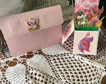 MOTHERS DAY CARD,  Special Card , Mom, Grandmother, pinks, tulips, yellows,