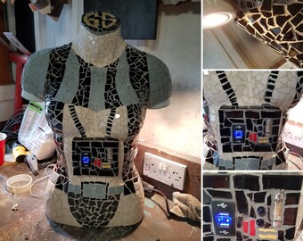 sci-fi fantasy mosaic art desk lamp and usb charger