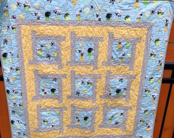 Lewe the Ewe Modern Baby Quilt, Quiltsy Challenge, Nursery Bedding