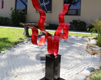 Abstract Metal Indoor-Outdoor Sculpture, Large Contemporary  Garden Decor , Abstract Yard Art - Red Reaching Out by Jon Allen