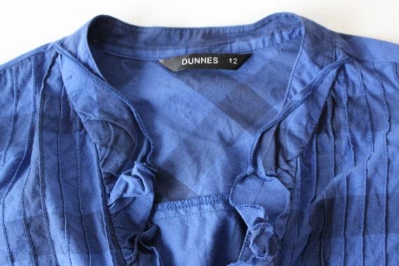 Blusa cuadros azul Preppy Grunge camisa mujeres cuadros blusa