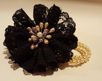 Corsage Ideas, Wrist Corsage Gift Idea in Organza with pearl bracelet or Handmade Brooch