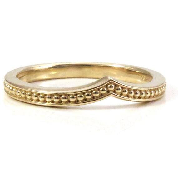Modern Chevron Millgrain Nesting Band Midi Knuckle or Engagement Ring - 14k Gold Wedding Band