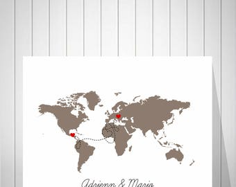 World Map Canvas | Alternative Wedding Guest Book Map | Guest Book Wedding | World Map Signature Guest Book | 1 Year Anniversary Gift -51077