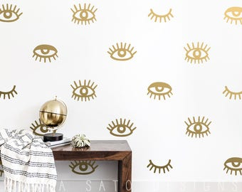 Eye Wall Decals - Wall Decals, Eyelash Decals, Vinyl Wall Decals, Modern Wall Decals, Wall Stickers, Wall Decor, Gift for Her, Gift for Him