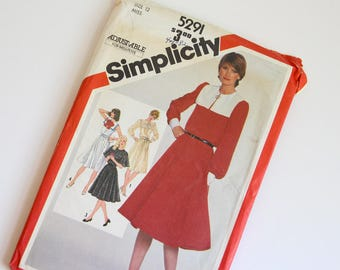 SIZE 12 5291 Simplicity Women's Dress UNCUT Sewing Pattern Vintage 1980s Eighties Dressy Pullover Square Pilgrim Collar Gathered Skirt Diana