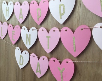 "Pink Ombre Heart ""Happy Valentine's Day"" Banner with Gold Glitter Lettering"