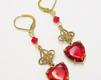 Red Heart Earrings Ruby Red Heart Earrings Victorian Downton Abbey July Birthstone Valentines Day Gift Jewelry