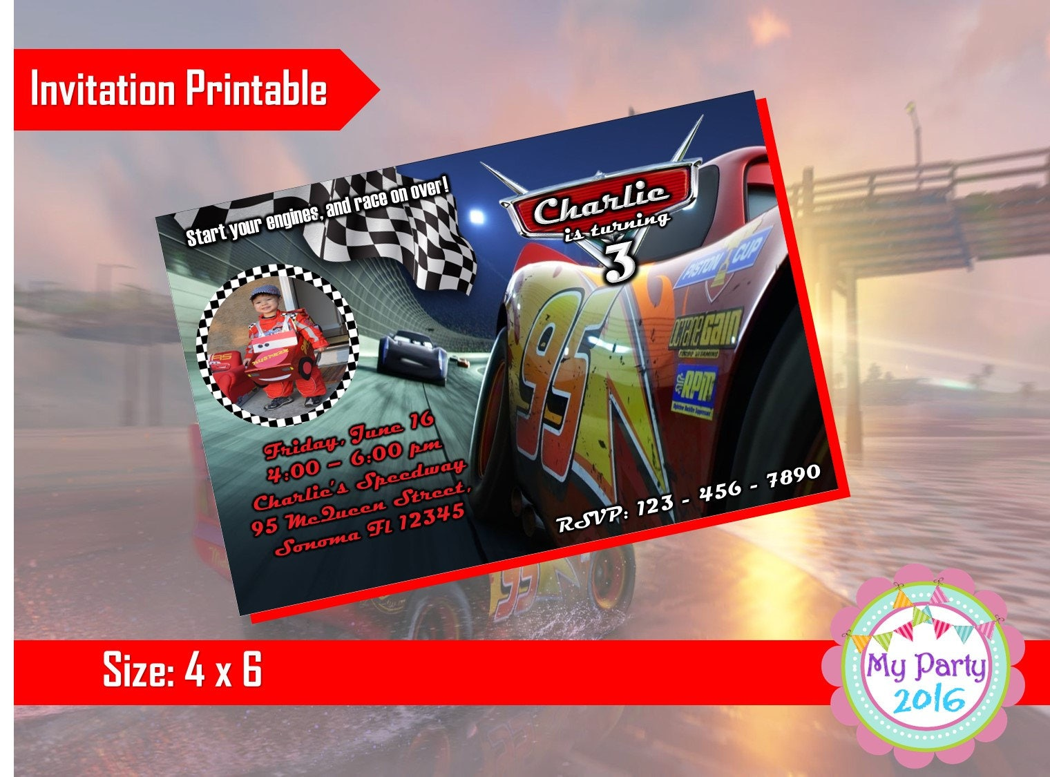 Cars 3 Birthday Party Invitation with Photo Printable