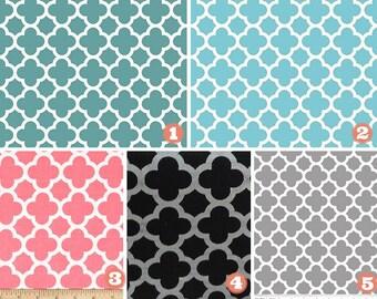 Fabric Table Runner - Weddings - Showers - Bridal - Baby - Teal Aqua Coral Black Grey Quatrefoil - Reception Decor - Party Decor