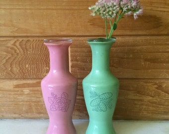 Small vase, pair of vases, pink and green, glass vase with rubber exterior, opaque glass vase