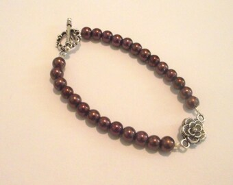 Chocolate Brown Bracelet with silver flower charm