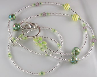 Beaded Lanyard LIMELIGHT glass id badge holder