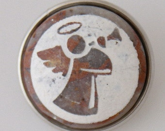 KB1020  Natural Stone Angel Snap-It Charm