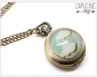 Clouds Pocket Watch Necklace - Necklace watch bronze - Glass dome cloud