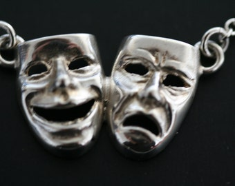 Silver Comedy Tragedy Greek Drama mask necklace. Theatre lovers' jewelry