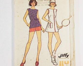 70s Tennis Skirt Pattern | Simplicity 6398 Misses & Skirt Pattern | 70s Jiffy Sewing Pattern